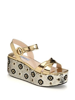 Prada - Metallic Leather Sequin-Coated Wedge Sandals