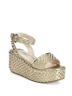 Prada - Studded Saffiano Metallic Leather Wedge Sandals
