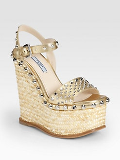 Prada - Studded Saffiano Metallic Leather Raffia Wedges