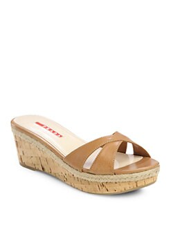 Prada - Leather Cork Wedge Slides