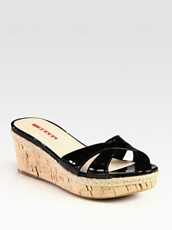 Prada - Patent Leather Cork Wedge Slides