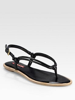 Prada - Leather Knotted Thong Sandals
