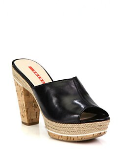 Prada - Leather Cork Clogs