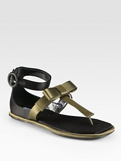 Prada - Bicolor Satin T-Strap Bow Sandals