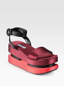 Prada - Double Platform Satin Sandals