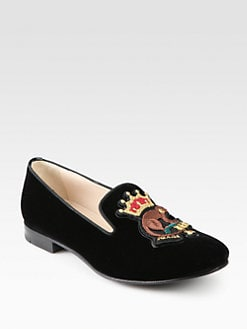 Prada - Monkey Velvet Smoking Slippers
