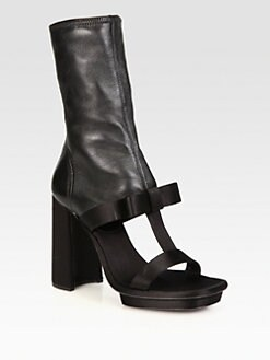 Prada - Satin & Leather T-Strap Ankle Boots
