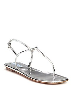 Prada - Metallic Leather Thong Flat Sandals