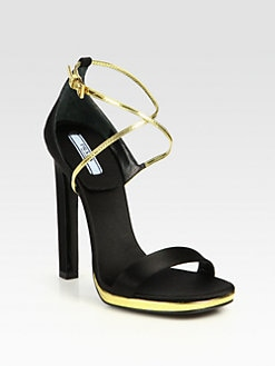 Prada - Satin & Metallic Leather Crisscross Sandals