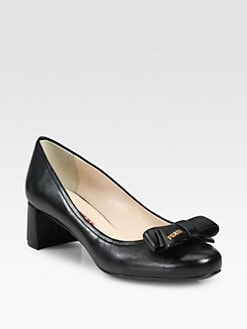 Prada - Leather Bow Pumps