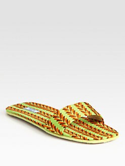 Prada - Printed Chevron Raso Slippers