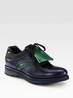 Prada - Leather Wingtip Golf Shoes