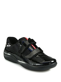 Prada - America's Cup Patent Leather & Mesh Sneakers