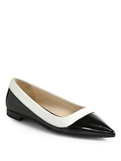 Prada - Bicolor Leather Ballet Flats