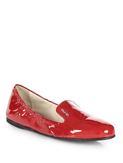 Prada - Patent Leather Smoking Slippers
