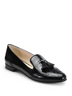 Prada - Leather Tassel Smoking Slippers