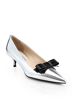 Prada - Mirror Leather Cap-Toe Slingback Pumps