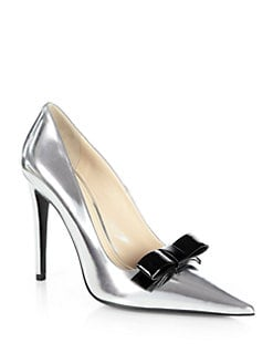 Prada - Metallic Leather Bow Pumps