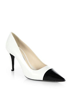 Prada - Leather Cap-Toe Pumps