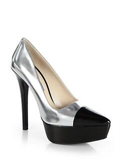 Prada - Metallic Leather Cap-Toe Platform Pumps