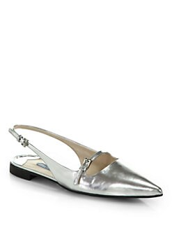 Prada - Metallic Leather Point-Toe Slingback Flats