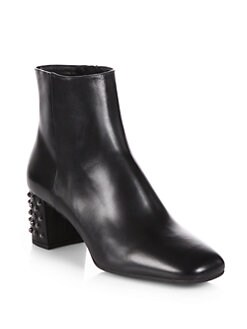 Prada - Leather Studded Heel Ankle Boots