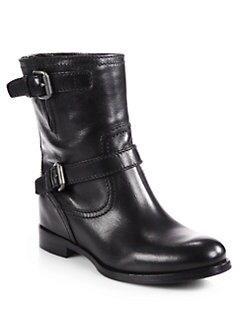 Prada - Leather Double Buckle Motorcycle Boots