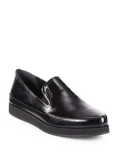 Prada - Leather Saffiano Leather Platform Loafers