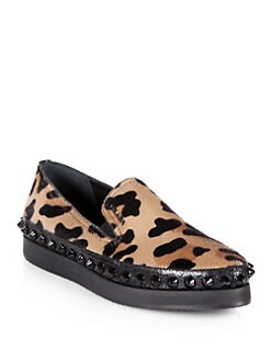 Prada - Leopard-Print Calf Hair Studded Platform Loafers