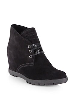 Prada - Suede Lace-Up Wedge Ankle Boots