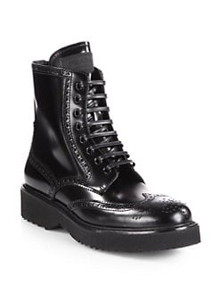 Prada - Leather Wingtip Lace-Up Ankle Boots