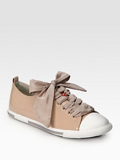 Prada - Patent Leather Ribbon Lace-Up Sneakers