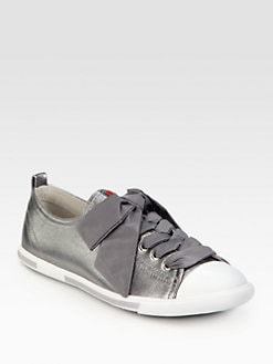 Prada - Metallic Leather Ribbon Lace-Up Sneakers