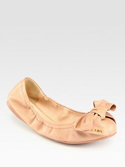Prada - Leather Bow Ballet Flats