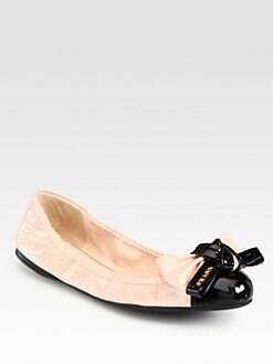 Prada - Bi-Color Patent Leather Bow Ballet Flats