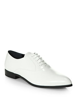 Prada - Polished Leather Lace-Up Oxfords