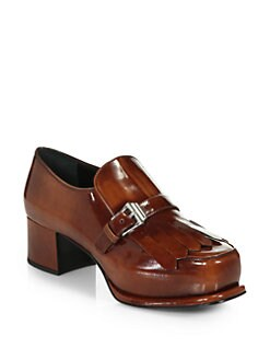 Prada - Leather Buckle Oxford Pumps
