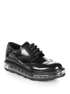 Prada - Creeper Spazzolato Leather Lace-Up Oxfords
