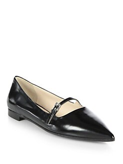 Prada - Polished Leather Mary Jane Flats