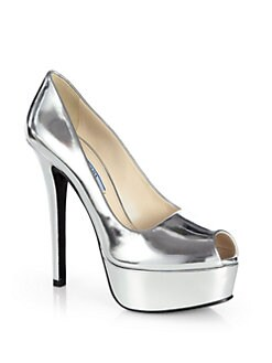 Prada - Metallic Leather Platform Pumps
