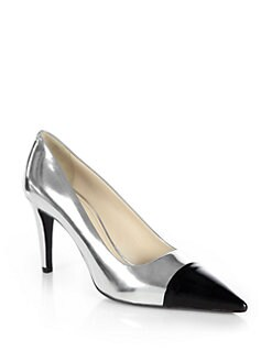 Prada - Metallic Leather Cap-Toe Pumps