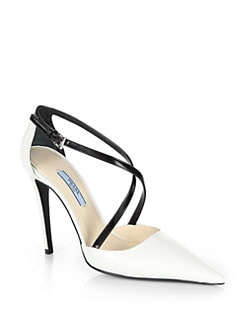 Prada - Leather Crisscross Pumps