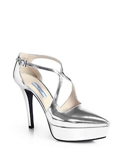 Prada - Metallic Leather Crossover Platform Pumps