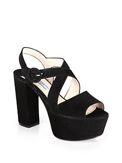 Prada - Suede Crisscross Platform Sandals