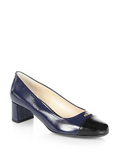 Prada - Vernice Saffiano Leather Cap-Toe Pumps