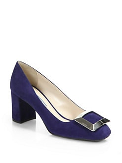 Prada - Metal-Detail Suede Pumps