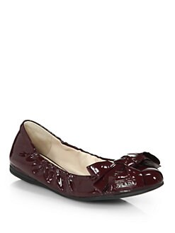 Prada - Patent Leather Bow Ballet Flats