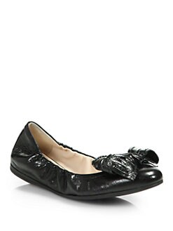 Prada - Distressed Leather Bow Ballet Flats