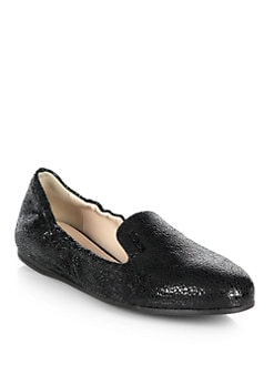 Prada - Crackled Leather Smoking Slippers
