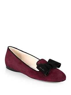 Prada - Bicolor Suede Bow Smoking Slippers